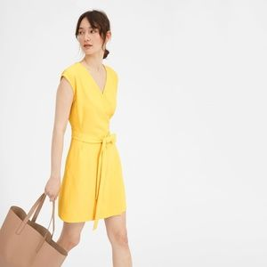 Everlane Yellow Japanese GoWeave Wrap Dress Size 8